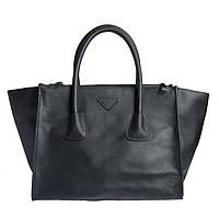 Брендовая женская сумка из натуральной кожи черная