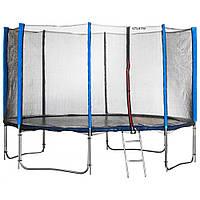 Батут Atleto 435 см (синий) с двойными ногами и сеткой + лестница