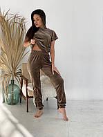 Жіноча стильна плюшева піжама 3-ка