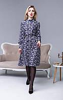 Женское темно-синее платье с длинным рукавом на манжете с цветочным белым принтом и рубашечным воротником