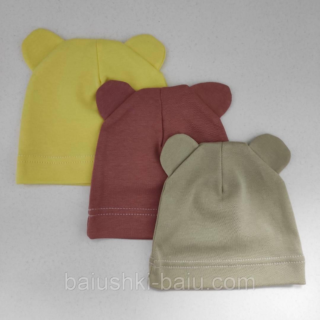Шапка трикотажна для новонародженого (жовта), р. 3-6 міс