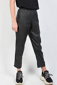 Лосины брюки детские черные экокожа №9105 для девочки (8-13 лет) без карманов Оптом
