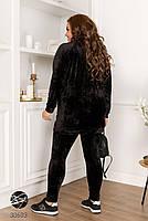 Черный велюровый костюм двойка свитер с воротом-стойка и леггинсы с 48 по 58 размер, фото 2