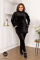 Черный велюровый костюм двойка свитер с воротом-стойка и леггинсы с 48 по 58 размер, фото 3