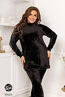 Черный велюровый костюм двойка свитер с воротом-стойка и леггинсы с 48 по 58 размер, фото 4