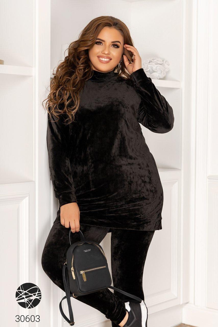 Черный велюровый костюм двойка свитер с воротом-стойка и леггинсы с 48 по 58 размер