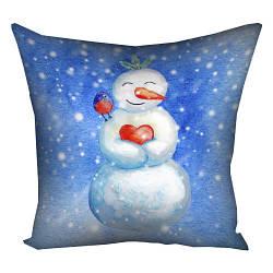 Подушка з принтом Влюбленный снеговик 30x30, 40x40, 50x50 см (3P_17NG005)