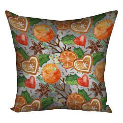 Подушка з принтом Новогодние натуральные украшения 30x30, 40x40, 50x50 см (3P_17NG015)