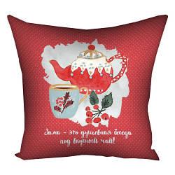 Подушка з принтом Зима – это душевная беседа под вкусный чай! 30x30, 40x40, 50x50 см (3P_17NG021)