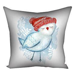 Подушка з принтом Птичка в шапке 30x30, 40x40, 50x50 см (3P_17NG029)