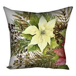 Подушка з принтом Рождественский цветок 30x30, 40x40, 50x50 см (3P_17NG086)