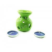 Аромалампа керамічна, подарунковий набір зелена (12,5х8х7,5 см), фото 1