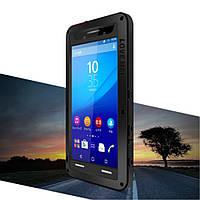 Чехол противоударный Love Mei Gorilla Glass для Sony Xperia M5 E5603 Dual E5633 черный