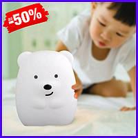 Детский силиконовый led ночник лампа Click Медведь ночные зверята, светодиодный светильник для детской 11 см