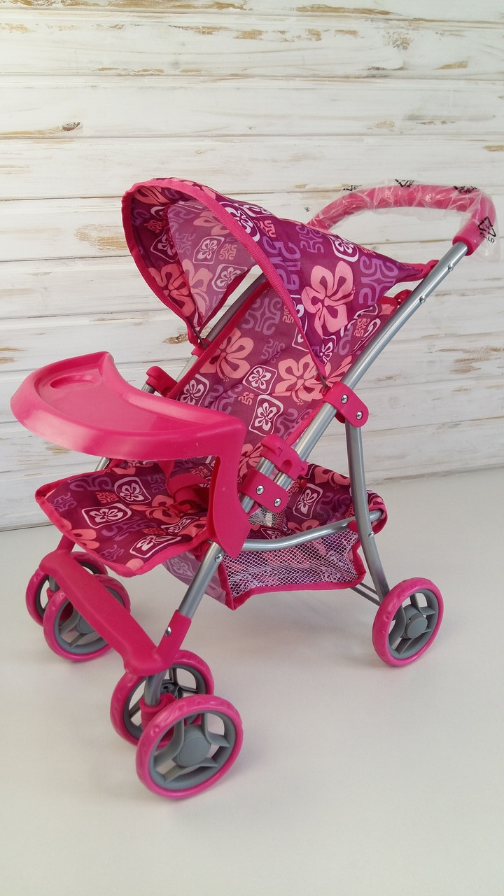 Коляска летняя + корзина + столик для бутылочек, розовая коляска, ткань М9304ВW-T