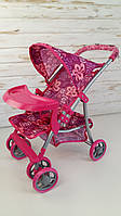 Коляска летняя + корзина + столик для бутылочек, розовая коляска, ткань М9304ВW-T, фото 1