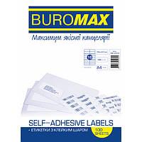 Этикетки BuroMax 105х37мм 1600шт 100 листов бумага самоклеющаяся BM.2834