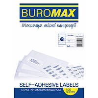 Этикетки BuroMax 105х58мм 1000шт 100 листов,бумага самоклеющаяся BM.2822