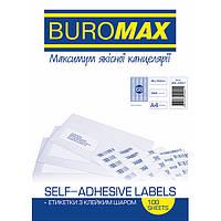 Этикетки BuroMax 48х16,6мм 6800шт 100 листов, бумага самоклеющаяся BM.2867