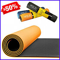 Гимнастический фитнес коврик мат 4FIZJO Tpe 6 мм 4FJ0034 Orange-Black для занятий пилатесом, йогой спортивный