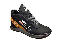 Мужские модные кроссовки из натуральной кожи весна осень молодежные фирменные черного цвета размер 45 Nike 157