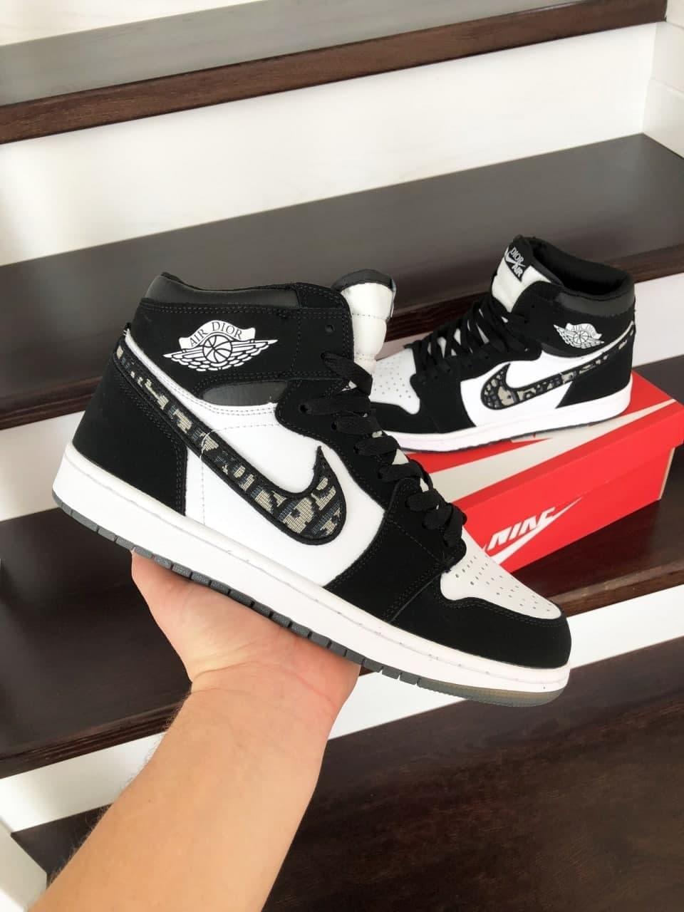 Кроссовки Nk ir Jordan  1 Dior Black/White 41 42 43 44 45 46