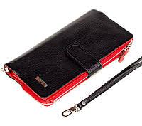 Жіночий клатч BUTUN 022-004-039 шкіряний чорний з червоним