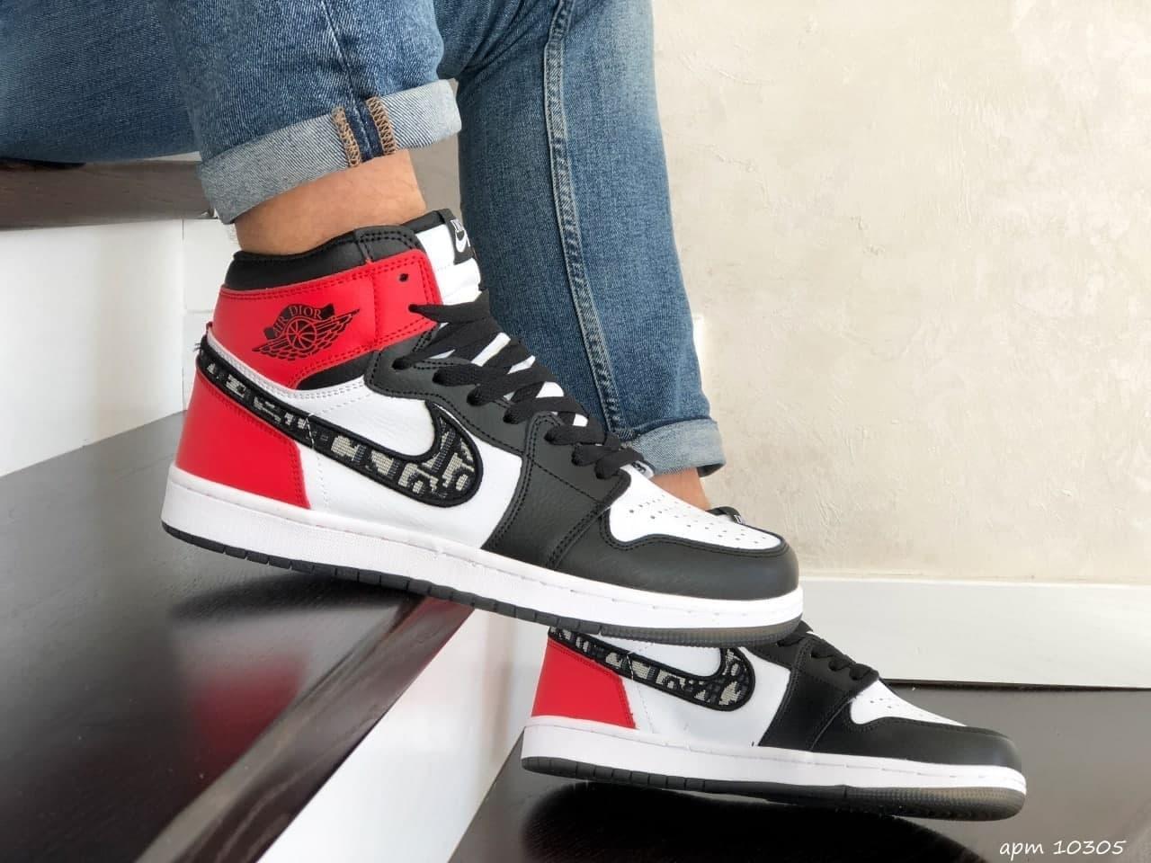 Кросівки Nk Air Jordan 1 High х Dior Red 41 42 43 44 45 46