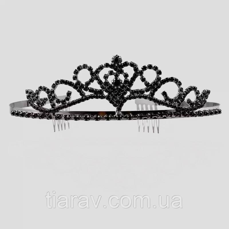 Диадема с чёрными камнями, тиара вечерняя , украшения для волос