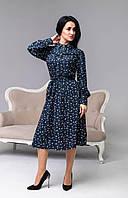 Платье с цветочным рисунком синего цвета, фото 1