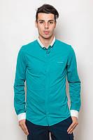 Оригинальная однотонная мужская рубашка с контрастными манжетами и воротником-стойкой бирюзовая