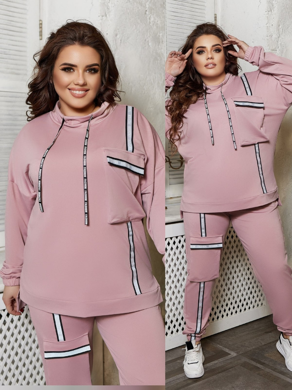 Стильний спортивний весняний жіночий костюм, кофта і штани з накладними кишенями, батал великі розміри