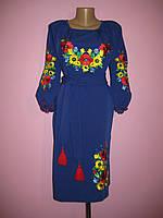 """Женское вышитое платье """" Маки с подсолнухами"""" . Натуральная ткань"""