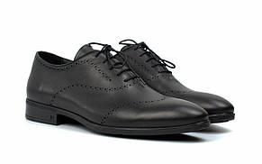 Оксфорди з брогированием чорні шкіряні чоловічі туфлі класична взуття Amedeo Black Leather by Rosso Avangar