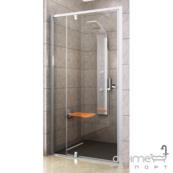Душевые кабины, двери и шторки для ванн Ravak Душевые двери Ravak Pivot PDOP2-110 белый-хром/прозрачное