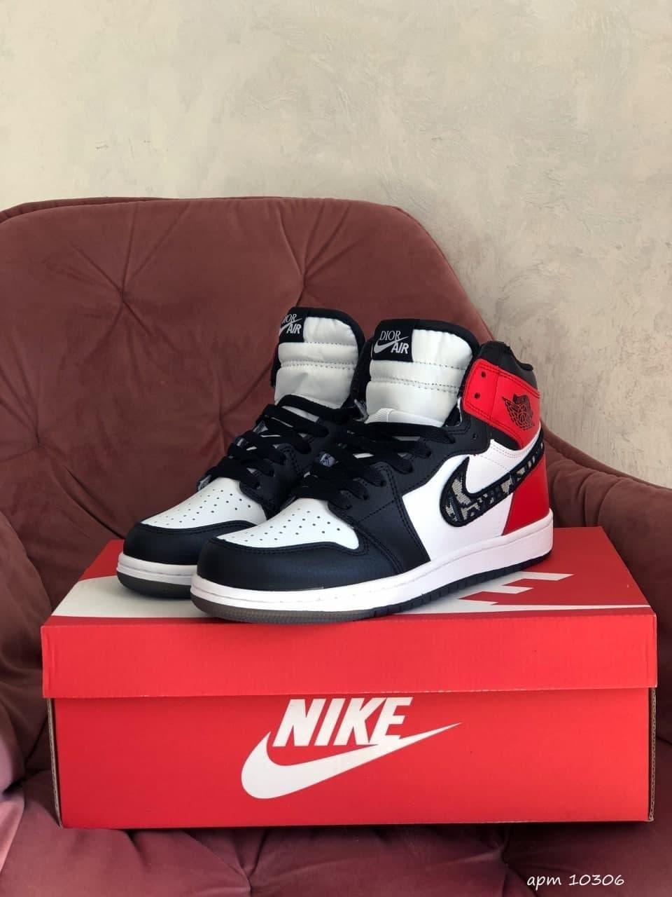 Кросівки Nk Air Jordan 1 Dior Red 36 37 38 39 40 41