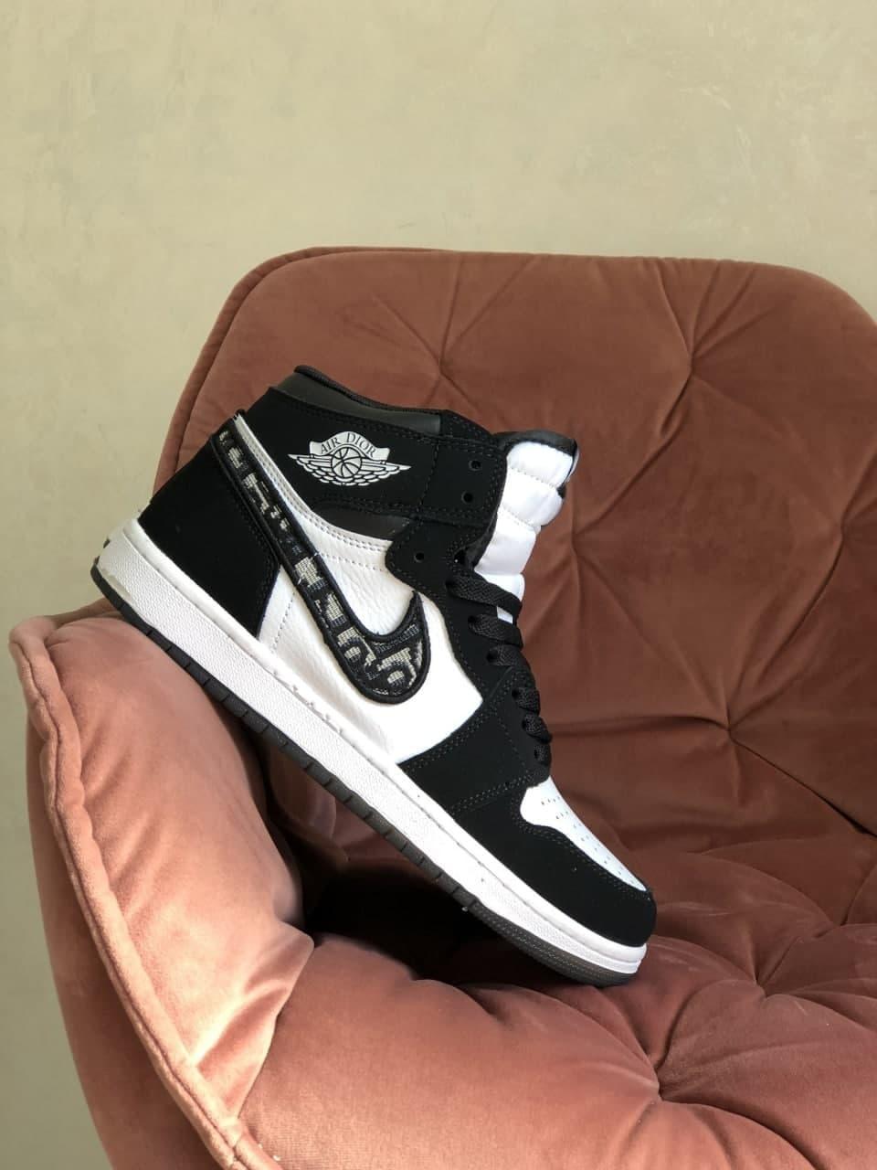Кросівки Nk Air Jordan 1 Dior Black/White 36 37 38 39 40 41