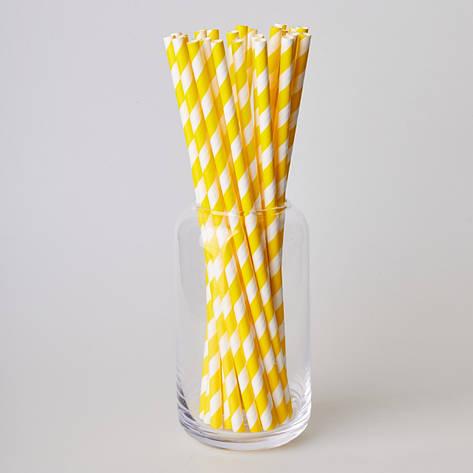Паперові трубочки 200 мм (25 шт.) жовта полоска, фото 2