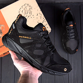 Мужские черные кожаные кроссовки MERRELL
