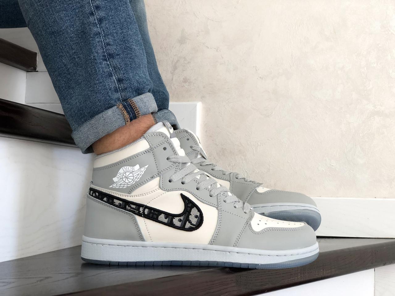 Баскетбольные кроссовки Nike Air Jordan Dior, серые / мужские кроссовки для баскетбола (Топ реплика ААА+)