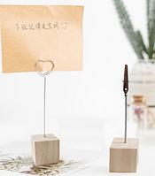 Подставка держатель настольная с зажимом Кубик  3 х 3 х 3см  для визиток, фото, заметок дерево