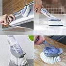 Багатофункціональна щітка для миття посуду з ручкою DTMA з дозатором і насадками йоржик гнучка Cleaning Brush, фото 9