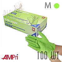 Перчатки нитриловые медицинские (100шт/ 50пар) нитрил без пудры Ampri APPLE GREEN Зелёный. Размер: M