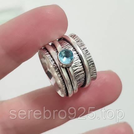 Кольцо спиннер с нат. камнем Блу топаз 17 р., фото 2