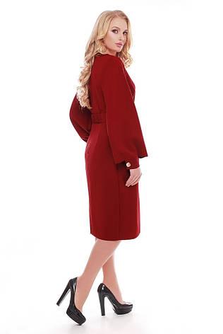 Бордовое платье для полных женщин с широкими рукавами Екатерина, фото 2