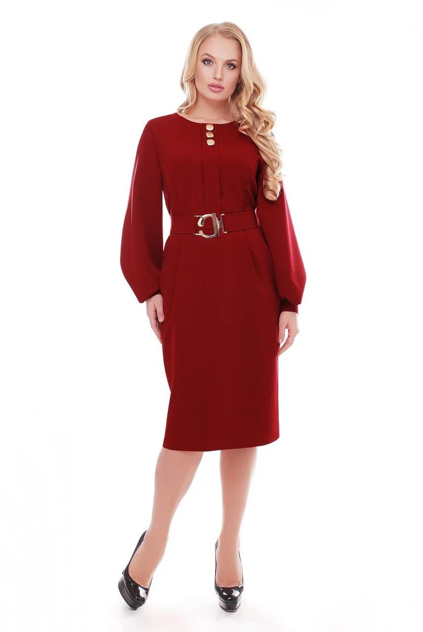 Бордовое платье для полных женщин с широкими рукавами Екатерина