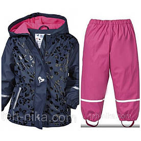Костюм для девочки Lupilu водонепроницаемый синяя куртка в сердечка и розовые штаны р.86/92см