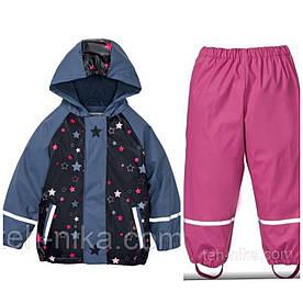 Костюм для девочки Lupilu водонепроницаемый синяя в звездочки куртка и розовые штаны р.86/92см