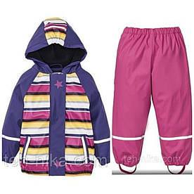 Костюм для девочки водонепроницаемый разноцветная в полоску куртка и розовые штаны Lupilu р.86/92см