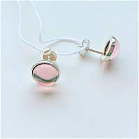 Серьги-пусеты из серебра с розовым улекситом Челси, фото 1